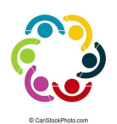 Group of six persons in circle. holding hands. The summit ...