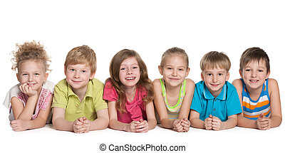 Group of six smiling children