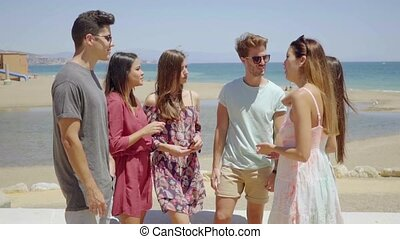 Group of six young friends standing chatting on a promenade...