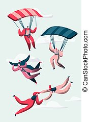 Group of Skydivers Fly Between Clouds. Happy People Planes with Parachutes. Extreme Sport and Skydiving Concept Set. Man and Woman Character in Sky. Flat Cartoon Vector Illustration