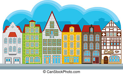 Group of small houses in european style, street with townhouses