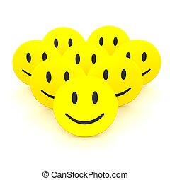 Group of smileys. 3d rendered illustration isolated on white.