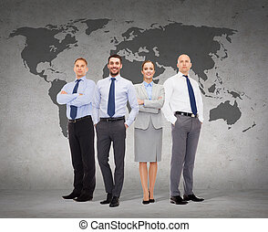 group of smiling businessmen over white background