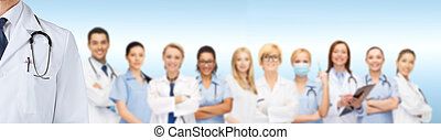 group of smiling doctors - medicine, profession, teamwork...