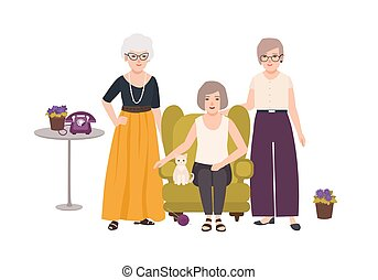Group of smiling elderly women dressed in elegant clothes sitting in comfortable armchair and standing. Old ladies spending time together. Female cartoon characters. Colorful vector illustration.