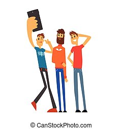 Group of smiling male friends taking selfie photo cartoon vector Illustration