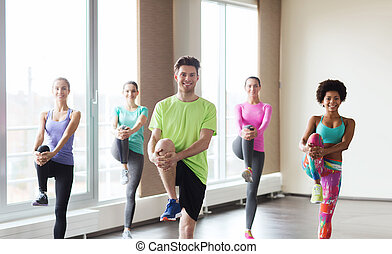 group of smiling people exercising in gym - fitness, sport,...