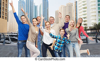 group of smiling people having fun - family, travel, tourism...