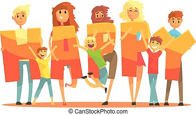 Group of smiling people holding the word Happy cartoon colorful vector Illustration