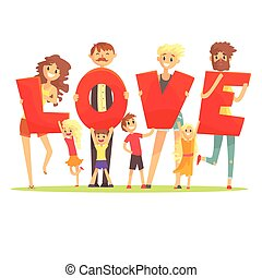 Group of smiling people holding the word Love cartoon colorful vector Illustration