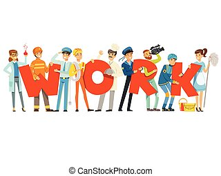 Group of smiling people in sport uniform holding the word Work cartoon colorful vector Illustration
