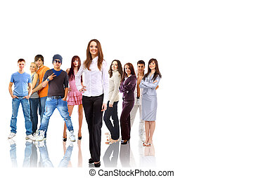 group of smiling students. Over white background