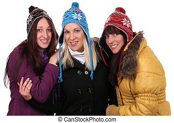 Group of smiling young women people in winter with gloves and ca
