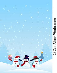 Group of snowman characters with presents and Christmas tree on a winter snowy background. A Christmas card with holiday design elements. Flat vector stock with copy space