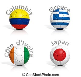 Group of soccer balls Colombia,Greece,Japan,Ivory Coast isolated