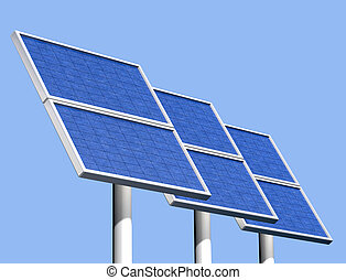 Group of solar panels on a clear sunny day - Illustration of...