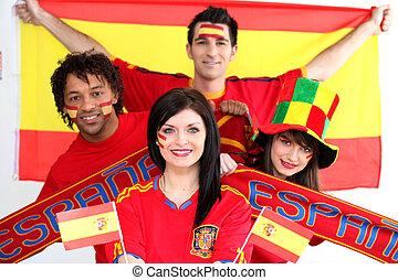 Group of Spanish soccer fans