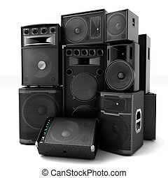 Group of speakers ,loud or abused concept