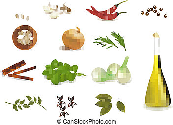 Group of spices. Vector illustration.