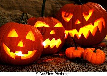 Halloween Jack o Lanterns - Group of spooky Halloween Jack o...