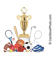 group of sport equipment and gold t