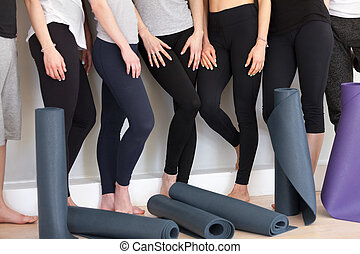 Group of sportive people in a row with yoga mats