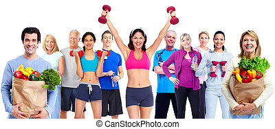 Group of sportive people with fruits vegetables.
