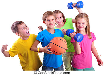 Group of sporty children friends with dumbbells and ball