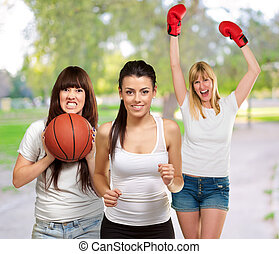 Group Of Sporty Woman