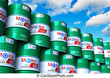 Group of stacked barrels with motor oil lubricant against blue sky