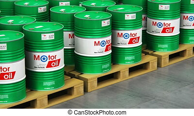 Group of stacked barrels with motor oil lubricant in warehouse