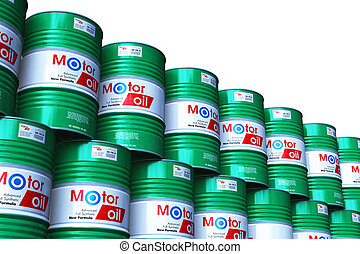 Group of stacked barrels with motor oil lubricant isolated on white