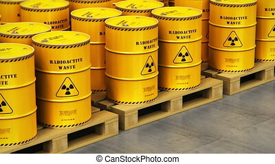 Group of stacked yellow drums with radioactive waste -...