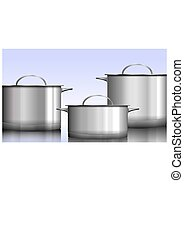 Group of stainless steel kitchenware isolated on white Vector illustration.