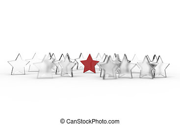 Group of stars isolated on white background. Leader concept. 3D rendering.