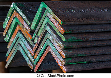 Group of Steel angle bunch on the rack in warehouse