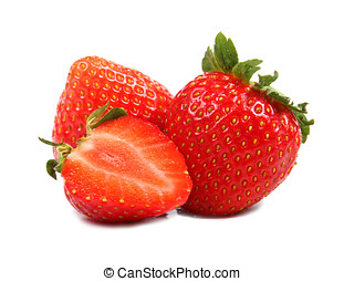 group of strawberries isolated on white background