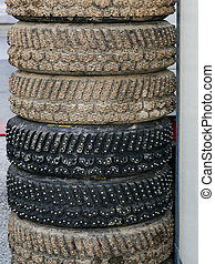 group of studded snow tires for rally for use in winter rally stages