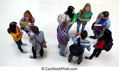 Group of students chatting in the hall