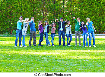 Group of students on the grass