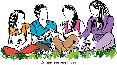 group of students sitting vector illustration