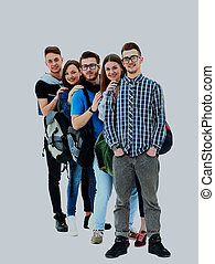 Group of Students Standing in a Line.