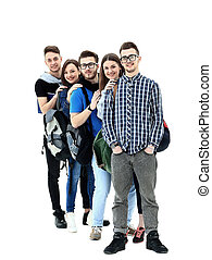 Group of Students Standing in a Line