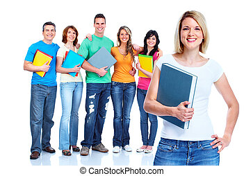 Group of students teens.