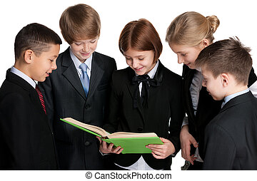 Group of students with a book