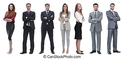 group of successful business people standing in a row.