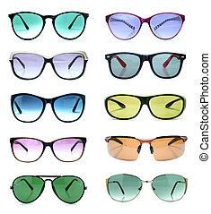 Group of beautiful sunglasses isolated on white background