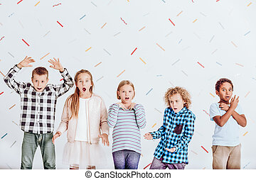 Group of surprised kids