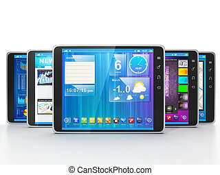 Group of Tablet Computers on white background frontally. Different applications for Tablet PCs