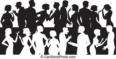 Group of talking people - Silhouettes of people talking and...